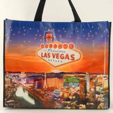 Las Vegas Strip Welcome Sign Hotels Night Scene Reusable Tote Bag