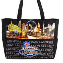 Las Vegas Strip Casino Canvas Black Handbag Purse