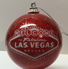 Las Vegas Welcome Sign Red Glitter Ornament