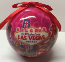 Las Vegas Welcome Sign Pink Christmas Tree Ornament