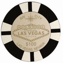 Las Vegas Sign $1000 Black Chip Coaster Set