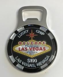 Las Vegas Sign Magnetic Bottle Opener $100 Lucky Chip
