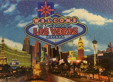 Las Vegas Sign Glitter Postcard