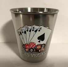 Las Vegas Royal Flush Stainless Steel Shot Glass