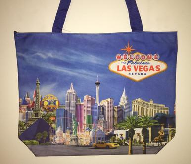 Las Vegas Hotels Skyline Blue Tote Bag