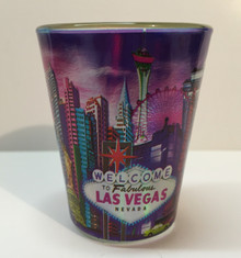 Las Vegas Skyline Shotglass Purple Sky