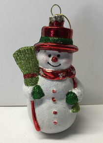 Snowman Christmas Tree Glass Ornament