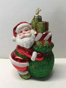 Santa Claus Christmas Tree Glass Ornament