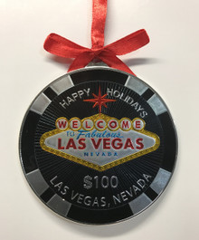 Las Vegas Sign $100 Casino Chip Holiday Hanging Ornament