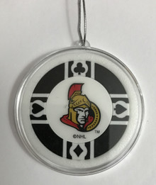 Ottawa Senators Poker Chip Holiday Tree Hanging Ornament NHL