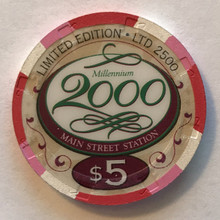 Main Street Station Las Vegas $5 Millenium Casino Chip
