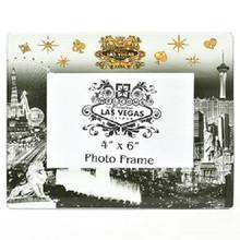 Las Vegas Strip Picture Frame Photo Glass Black White Gold
