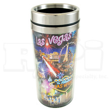 Las Vegas Strip Hotels Fireworks Neon Travel Mug