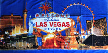 Las Vegas Strip Hotels Blue Collage Beach Towel