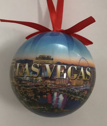 Las Vegas Blue Skyline Christmas Tree Ball Ornament