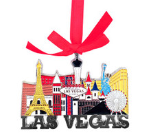 Las Vegas Sign Hotels Color Metal Hanging Christmas Ornament