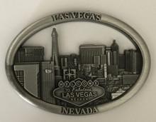 Las Vegas Skyline Antique Silver Oval Magnet