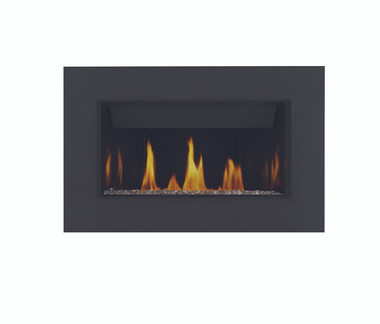 Topaz CRYSTALINE™ ember bed, MIRRO-FLAME™ Porcelain Reflective Radiant Panels, Classic 4-Sided Surround with safety screen