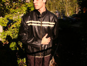 Black Motorcycle biker jacket Retro White racng stripes