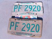 Illinois car license plate set old vintage