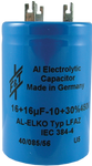 F&T Capacitor - Electrolytic, Multi-Section, Can, 32/32µF 500V