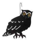 Metal scare owl with hanger and stake
