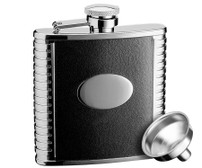 Savoir Flask - Black Leather - 5oz (FLBK5Z)