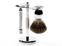 Ice Safety Razor Set 3pc with Mixed Badger Brush - Chrome (ISET-BM-3PC-CHROME) (999475)