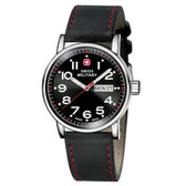 Swiss Military Watch Attitude Blk Leather Blk Dial (01.0341.303)
