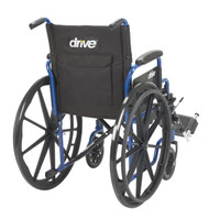 "Blue Streak Wheelchair with Flip Back Desk Arms, Elevating Leg Rests, 20"" Seat"