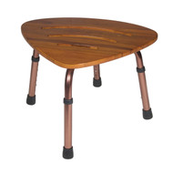 Adjustable Height Teak Bath Bench Stool, Triangular