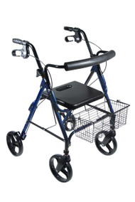 "DLite Lightweight Walker Rollator with 8"" Wheels and Loop Brakes, Blue"