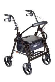 Duet Dual Function Transport Wheelchair Walker Rollator, Black