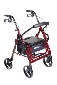 Duet Dual Function Transport Wheelchair Walker Rollator, Burgundy