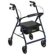 """Walker Rollator with 6"""" Wheels, Fold Up Removable Back Support and Padded Seat, Blue"""