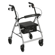 "Walker Rollator with 6"" Wheels, Fold Up Removable Back Support and Padded Seat, Silver"