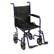 "Lightweight Transport Wheelchair, 17"" Seat, Blue"