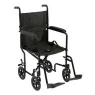 "Lightweight Transport Wheelchair, 19"" Seat, Black"