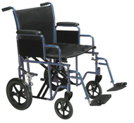 "Bariatric Heavy Duty Transport Wheelchair with Swing Away Footrest, 22"" Seat, Blue"