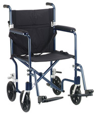 "Flyweight Lightweight Folding Transport Wheelchair, 17"", Blue Frame, Black Upholstery"