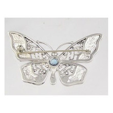 Sterling Silver Blue Topaz & Opal Inlay Butterfly Pin