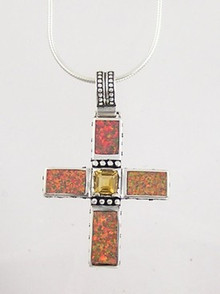 Sterling Silver Citrine & Opal Inlay Cross Pendant
