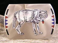 Zuni Inlay Wolf Belt Buckle - Edaake