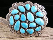Natural Blue Bird Turquoise Belt Buckle -1 1/4