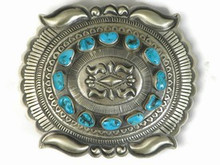Handmade Sterling Silver Turquoise Belt Buckle by Eugene Charley, Navajo