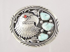 """Natural Dry Creek Turquoise & Coral Eagle Belt Buckle 1 1/8"""""""