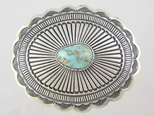"Natural Dry Creek Turquoise Belt Buckle 1"" by Tsosie White"