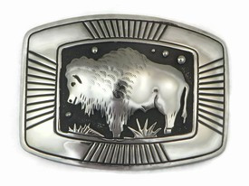 Sterling Silver Large Buffalo Belt Buckle by Thomas Singer, Navajo