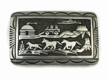 Sterling Silver Horse Scene Belt Buckle by Tommy Singer, Navajo Jewelry
