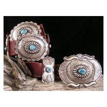 Large Navajo Kingman Turquoise Concho Belt